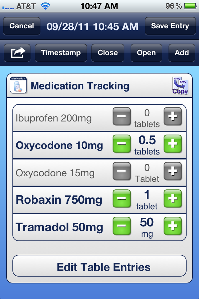 Medication Tracking with Custom Incremental Units