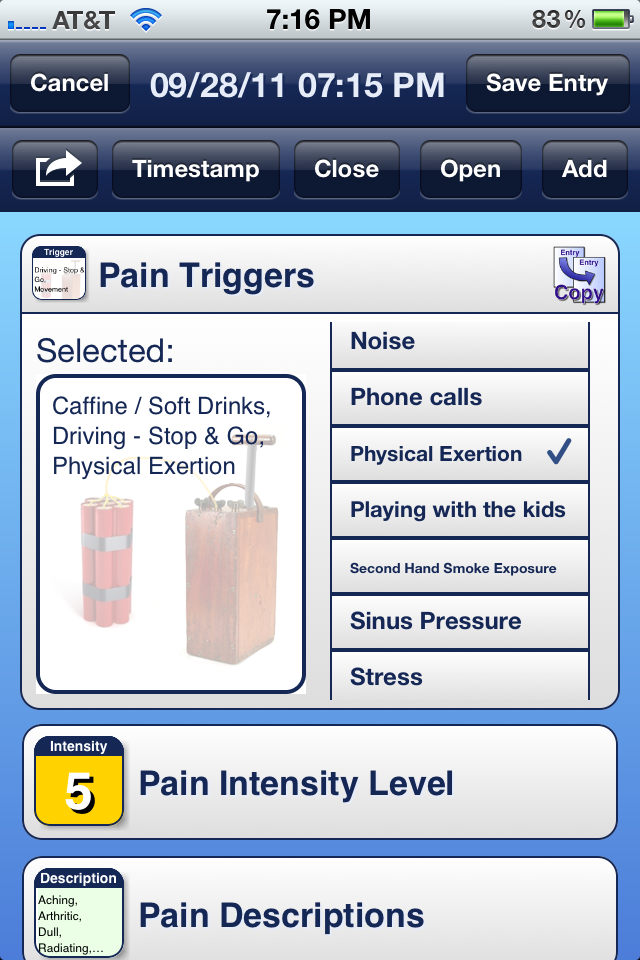 Diary Entry Pain Trigger Tracker Module