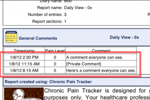 Example of Private Comment in Summary Report